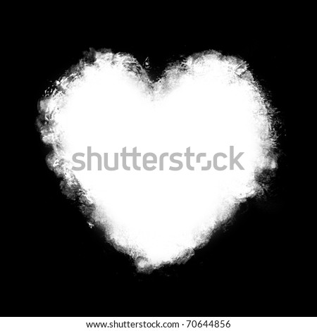 white watercolor Painted Heart  on black background - stock photo