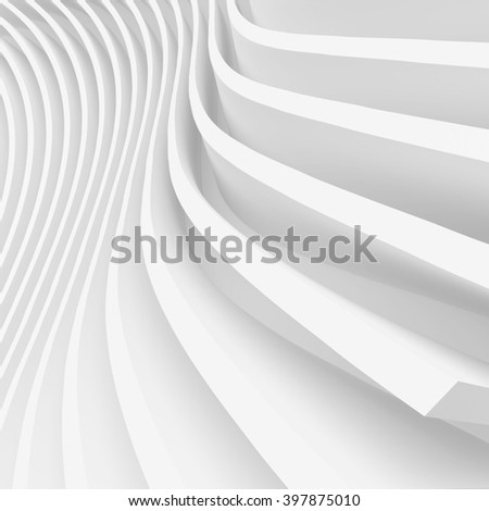 White Wave Background. Abstract Minimalistic Design. 3d Rendering - stock photo