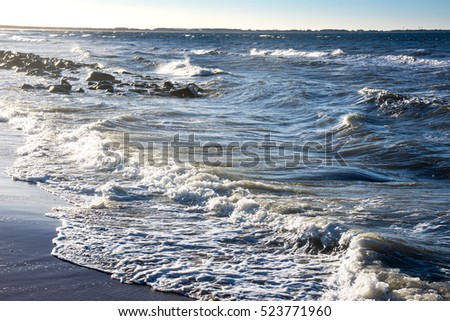 White waves and blue ocean