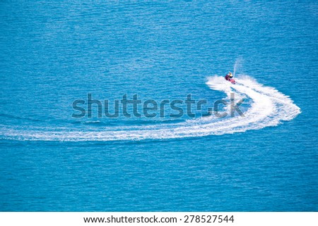 White waves caused by the running of the ship. - stock photo