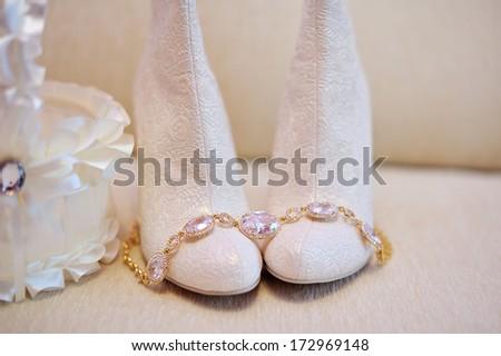 white wedding bride shoes - stock photo