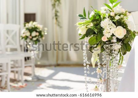 White wedding ceremony decorations indoor wedding stock photo white wedding ceremony decorations indoor wedding when bad weather junglespirit Images