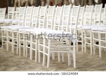White wedding chairs - stock photo