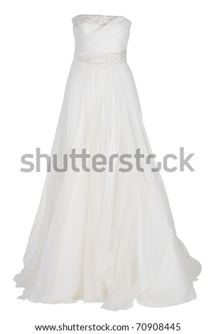 white wedding dress - stock photo