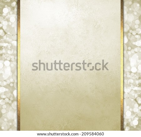 white wedding invitation announcement with gold ribbon trim, off white background with bokeh white lights or bubble sidebar panels - stock photo
