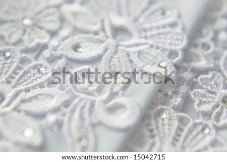 White wedding lace textile background - stock photo