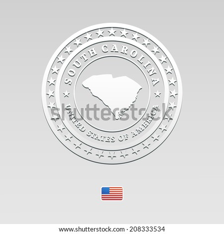 white welt label with map of South Carolina - stock photo