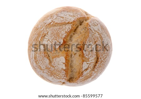 White wheat round bread isolated on white background.