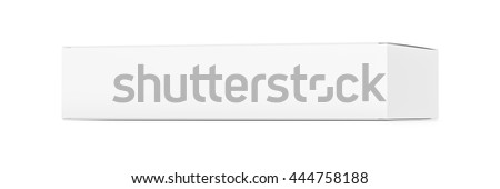 White wide flat horizontal rectangle blank box from side far angle. 3D illustration isolated on white background.