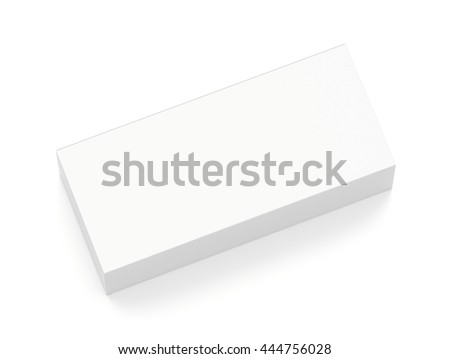 White wide horizontal rectangle blank box from top angle. 3D illustration isolated on white background.