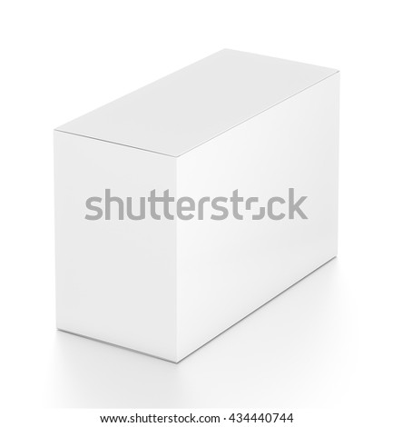 White wide horizontal rectangle blank box from top far side angle.