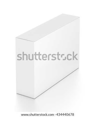 White wide horizontal rectangle blank box from top far side angle. 3D illustration isolated on white background.