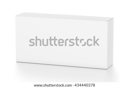 White wide horizontal rectangle blank box from top side angle. 3D illustration isolated on white background. - stock photo