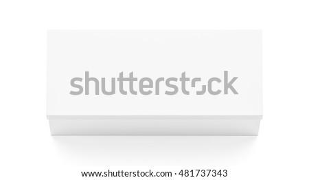 White wide horizontal rectangle blank box with cover from top angle. 3D illustration isolated on white background.