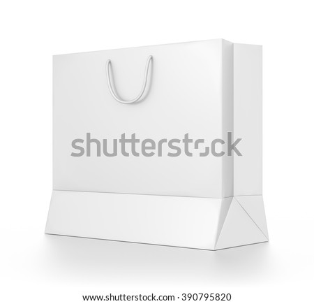 White wide rectangle blank bag isolated on white background. - stock photo