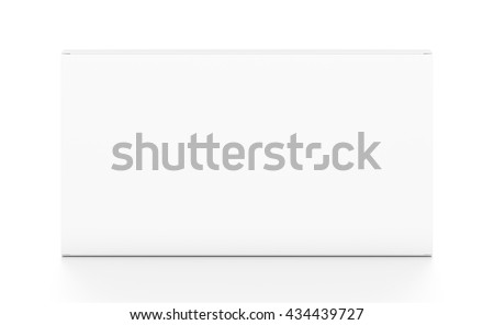 White wide thin horizontal rectangle blank box from top front angle. 3D illustration isolated on white background.