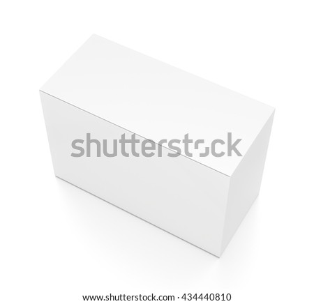 White wide thin horizontal rectangle blank box from top side angle. 3D illustration isolated on white background.