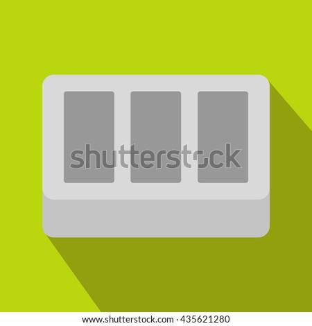 White window frame icon, flat style - stock photo