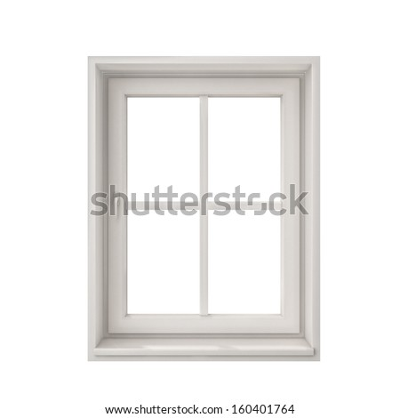 white window frame isolated on white background - stock photo
