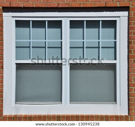White Window on a Brick Background - stock photo