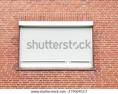 White window on brick wall background