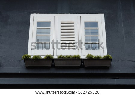 White windows on black wall