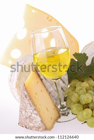 white wine and assortment of cheese
