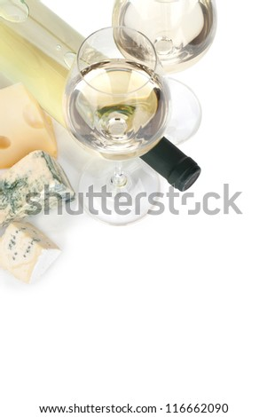 White wine and cheese and. View from above. Isolated on white background - stock photo