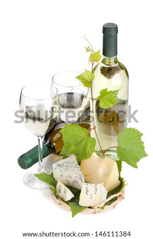 White wine and cheese. Closeup. Isolated on white background - stock photo