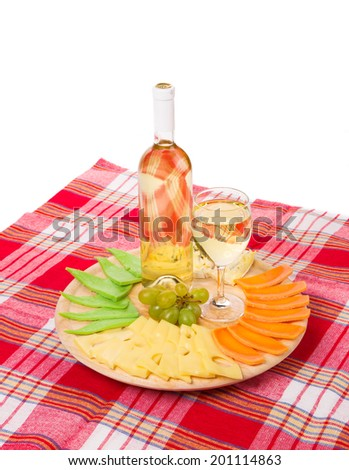 White wine and cheese composition. Whole background.