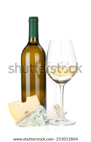 White wine and cheese. Isolated on white background  - stock photo