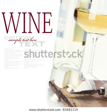 white wine and cheese over white (with sample text)