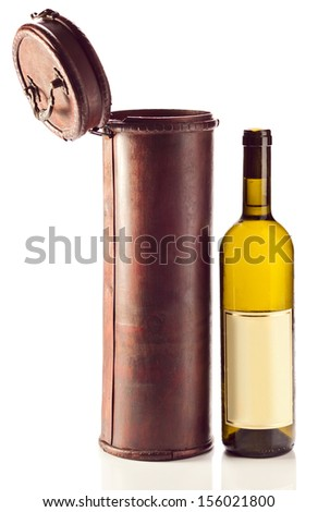 White wine and old wooden case on white background - stock photo