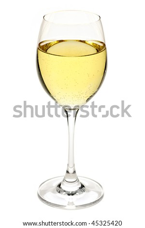 White wine beverage in crystal wineglass isolated - stock photo
