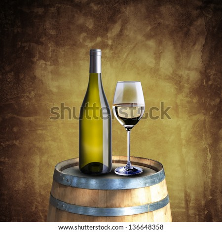White wine bottle and glass on wood barrel with grunge background - stock photo
