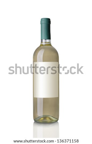 white wine bottle isolated on white - stock photo
