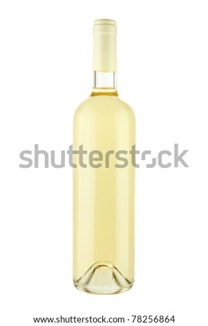 White wine bottle isolated on white background with clipping path
