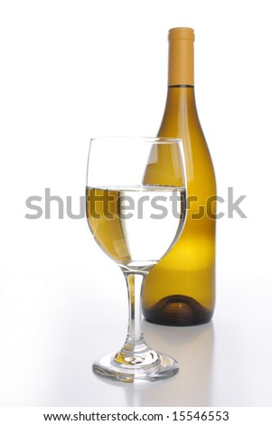 White wine bottle with a crystal glass