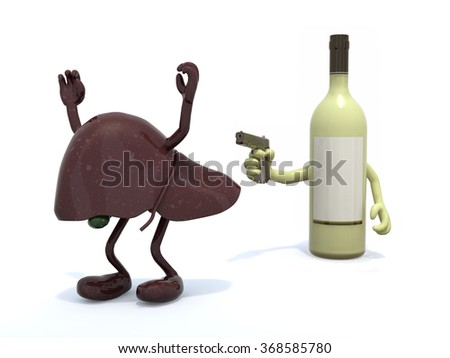 white wine bottle with arms wielding gun to the human liver, 3d illustration - stock photo
