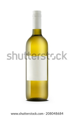 White wine bottle with blank label isolated on white. - stock photo
