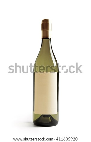 White wine bottle with real paper blank label. Label is at eye level so inserted elemets do not need to be curved (wrapped around) so much. Focus on label. Isolated on white. - stock photo