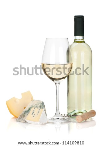 White wine, cheese and corkscrew. Isolated on white background - stock photo
