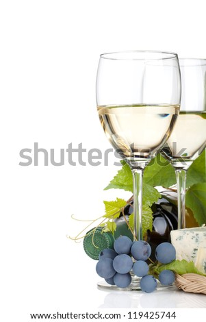 White wine, cheese and grape. Closeup. Isolated on white background - stock photo