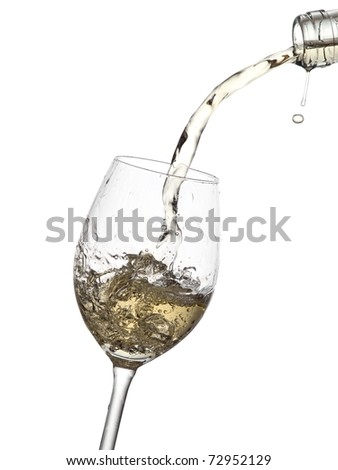 White wine flow in a glass from bottle with a drop