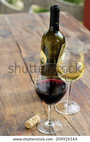 White Wine Glass And Bottle - stock photo