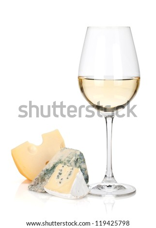 White wine glass and cheese. Isolated on white background - stock photo