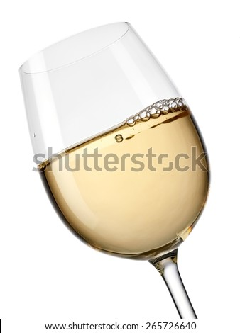 White wine glass, close up - stock photo