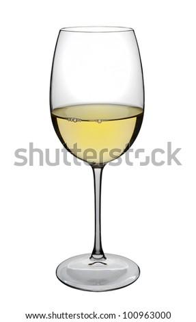 White wine glass, isolated on white - stock photo