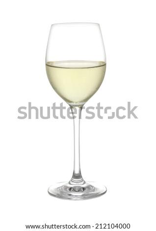 White wine glass on a white background  - stock photo