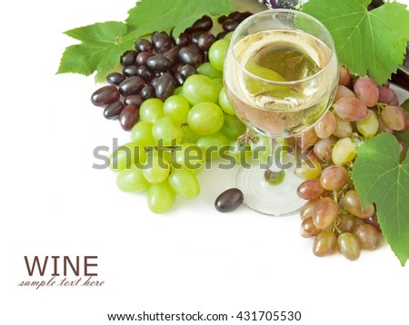 White wine in glasses and different kind of grapes with leaves isolated on white background - stock photo